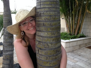 Here I am, hugging a palm tree after escaping a wicked winter for a few days.