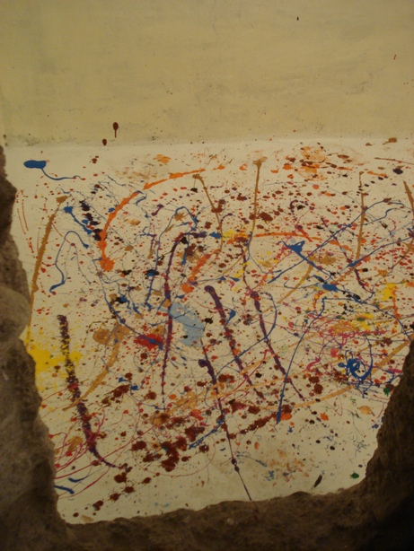 paint spattered floor
