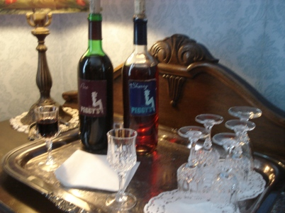 The port and sherry bottles for the guests to partake in the afternoon.